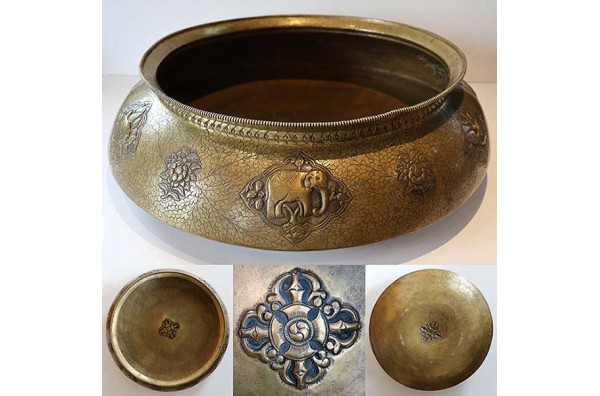Rare Large Ornate Antique Bronze Tibetan Ceremonial Offering Bowl