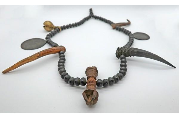 Rare Antique Tibetan Tamang Protective Shaman Mala with Vajra