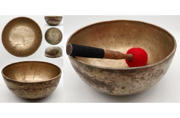 """Large 19th Century 10 ½ """" Antique Jambati Singing Bowl – G#2 & Eb4 - Reduced"""