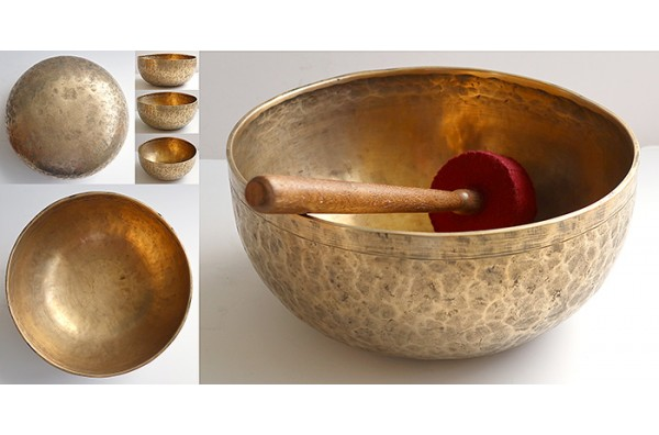 "Handsome Large 11 ½ "" Antique Jambati Singing Bowl – Rare Low E2 & B3"