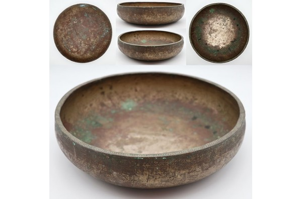 Rare Large Decorated Antique Singing/Offering/Shaman Bowl in 'As Found' Condition