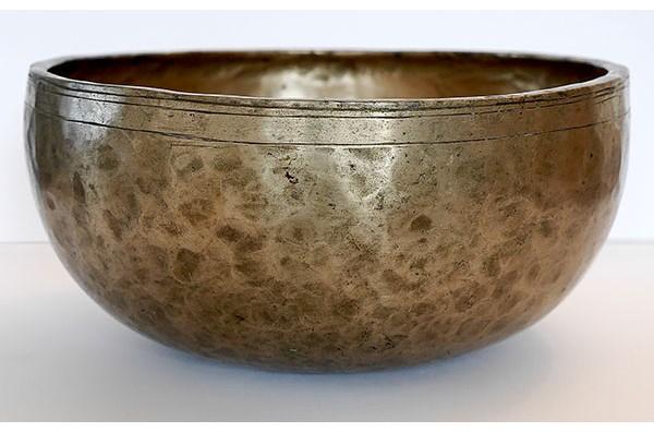 Large 10-inch Antique Jambati Singing Bowl – E3 with Inscription