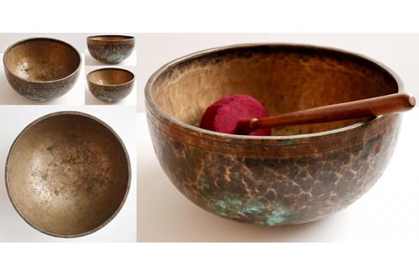 "Huge Majestic 12 ¼"" Antique Jambati Singing Bowl – Rare A2/G#2 & OM - Inscription"