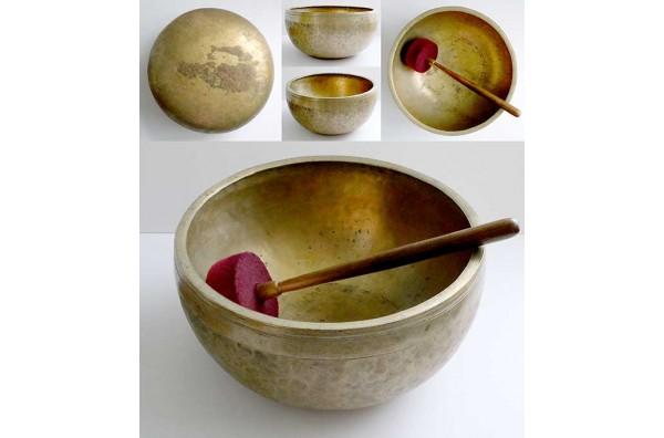 "Glorious Huge 12 ¼"" Antique Jambati Singing Bowl – Perfect Pitch F2/F3"