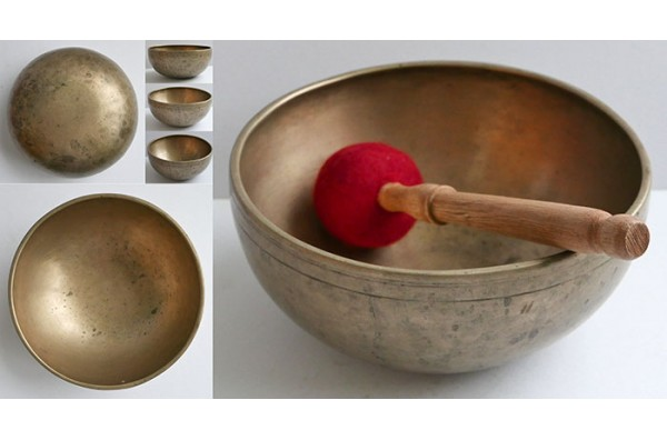 "Small Superior Quality 8"" Antique Jambati Singing Bowl – E3/F3 & C5"