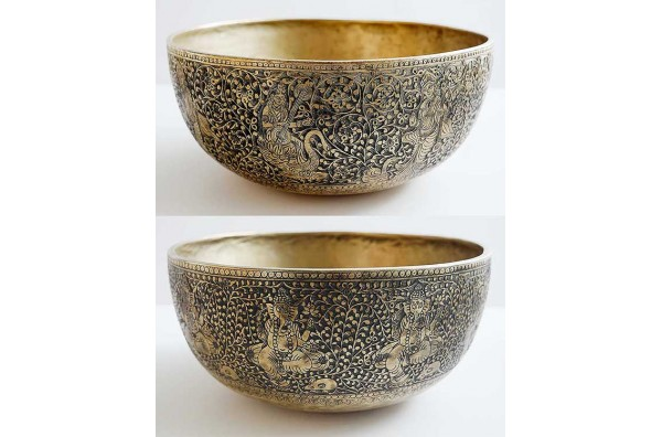 Rare Pair of Huge and Gloriously Engraved Ceremonial Jambati Bowls