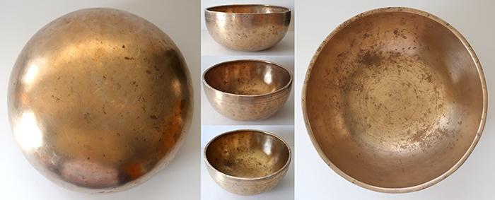 """Superior Quality 9 ½"""" Golden Antique Jambati Singing Bowl – Fabulous Eb3 (157Hz)"""