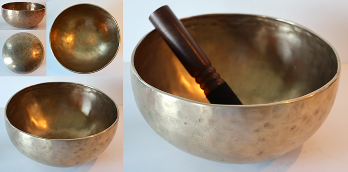 "Small 8 ¾ "" Antique Jambati Singing Bowl – Bb2 & F4 with Inscription"