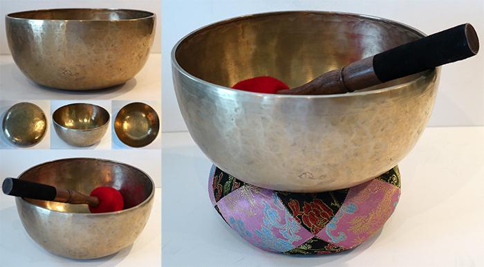 """Superb Medium 9""""Antique Jambati Singing & Fountain Bowl – Rare Low A2 & Long Sustain"""