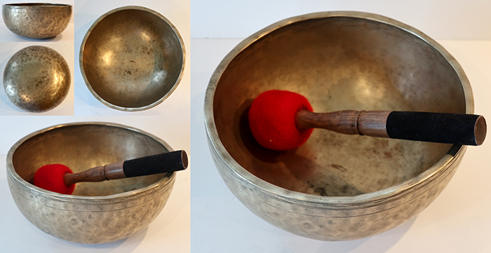 "Medium 9 ½ "" Antique Jambati Singing Bowl – Lovely F#3 (188Hz)"