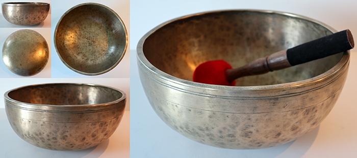 "Large 11"" Superior Quality Antique Jambati Singing Bowl – Concert Pitch D3 (146Hz)"