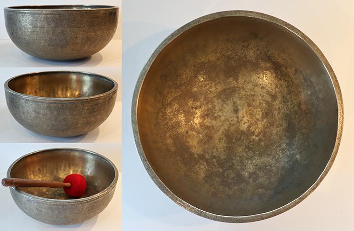 """Large 11 ¾ """" Antique Jambati Singing Bowl – Pulsating Concert Pitch F#4"""