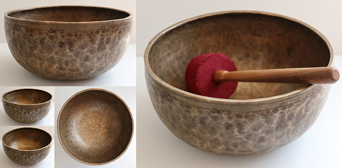 "Superb Large 11 ¼"" Antique Jambati Singing Bowl – Rare Perfect Pitch A2 (110Hz)"