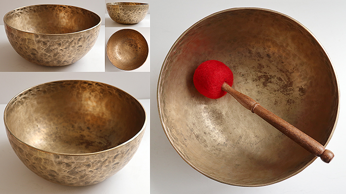 """Large 11 ½ """" Antique Jambati Singing & Fountain Bowl – Low E2 and B3 – Small Inscrition"""