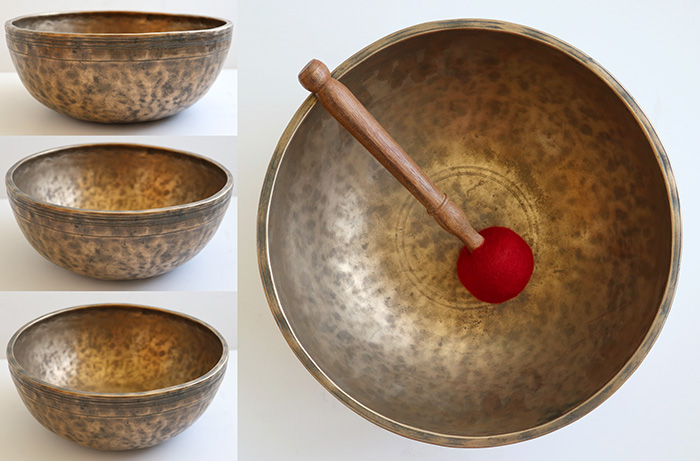 "Beautiful Large 11"" Antique Jambati Singing Bowl – D3 (143/5Hz)"
