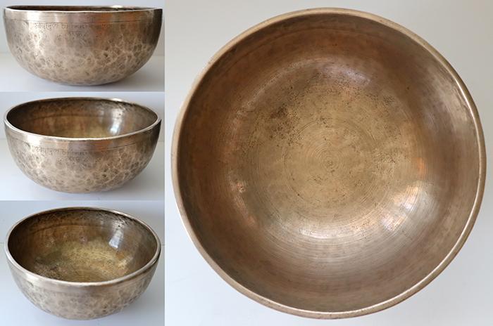 """Large 10 ¾"""" Superior Quality Antique Jambati Singing Bowl – C#3 & G5 - Inscription"""