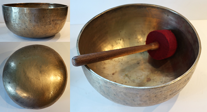 "Large 11 ¾"" Antique Jambati Singing & Fountain Bowl – Concert Pitch F#2 & OM"