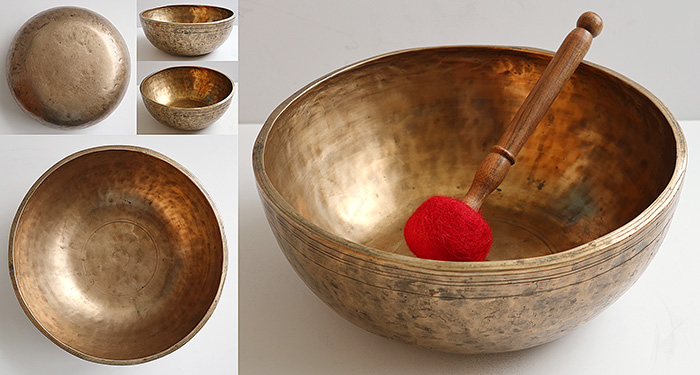 "Thick, Heavy & Large 11 ¼"" Antique Jambati Singing  Bowl – Pulsating B2/C3 Fundamental"