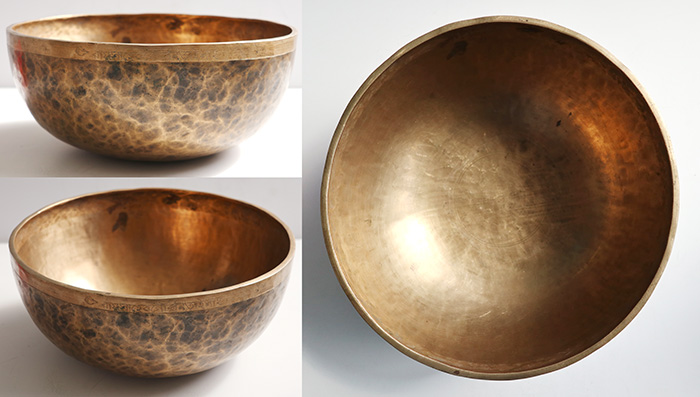 "Large 11 ¼"" Antique Jambati Singing & Fountain Bowl – Perfect Pitch G2 - Inscription"