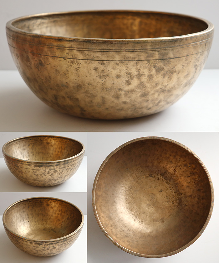 "Rare Heavy Large 12 ""Antique Jambati Singing Bowl – F#4 (378Hz)"