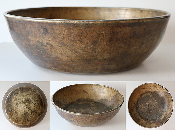 "Massive 14 ½"" Antique Jambati Singing Bowl – Wonderful Bell-Like F2/F#2 Voice"
