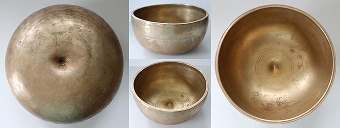 Rare Medium-Size Antique Lingam Singing Bowl – Excellent C#4 (272Hz) - Inscription