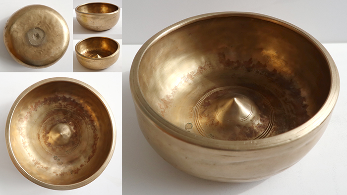 Heavy Rare 18th Century Golden Lingam Singing Bowl – Huge Lingam & Sealed Yoni