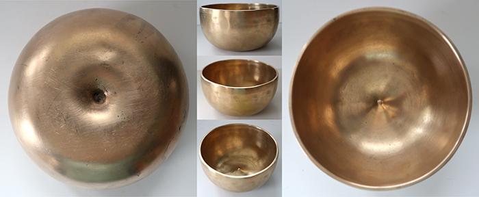 Rare Golden Medium-Size Antique Lingam Singing Bowl – 2 Concert Pitch Voices