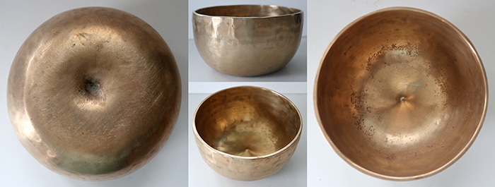 Rare Medium Antique Lingam Singing Bowl – D4 (300Hz) – Long Inscription