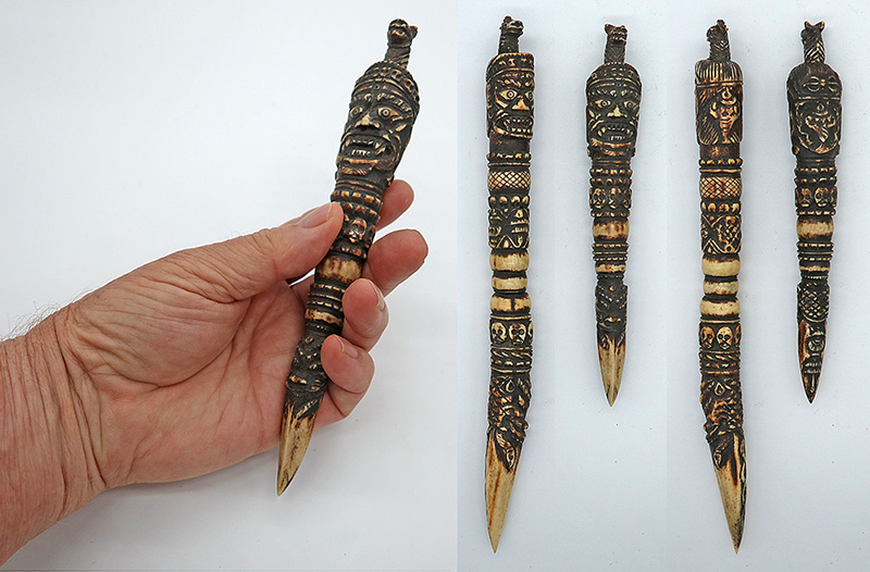Fabulous Rare Pair of Antique Tibetan Shaman Phurba – Carved Deer Horn