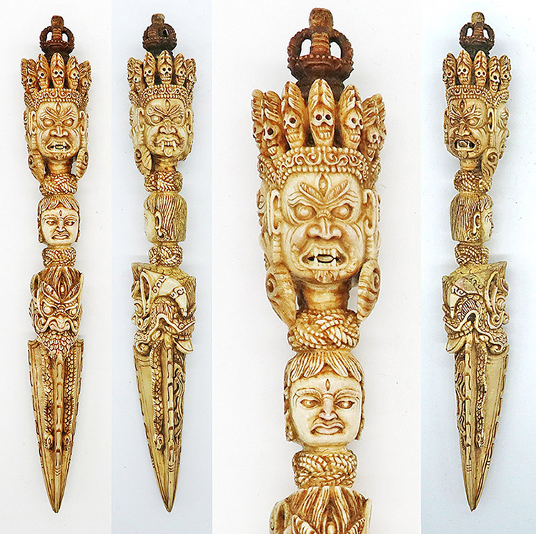 Incredible Bhutanese Hand-Carved Bone Shaman Phurba or Ritual Dagger