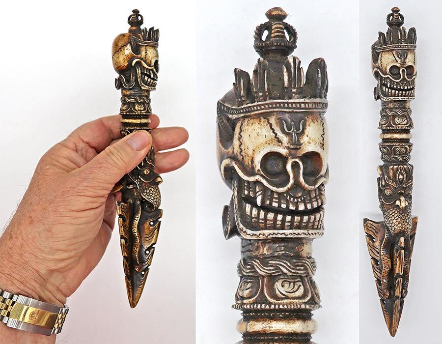 Bhutanese Carved Bone Shaman's Phurba or Ritual Dagger With Skull Motif