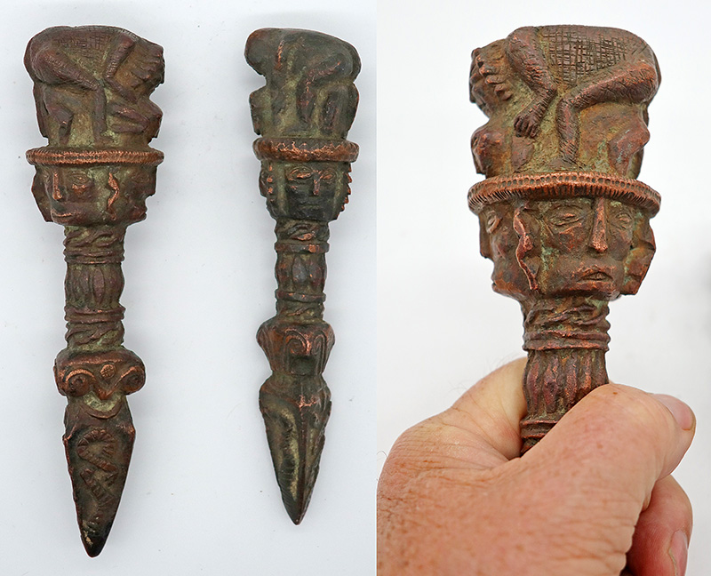 Unique Set of 2 Antique Shaman Phurba in Copper