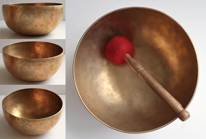 """Medium-Size 9"""" Antique Jambati Singing Bowl – Perfect Pitch G#2 - Massive Sustain"""