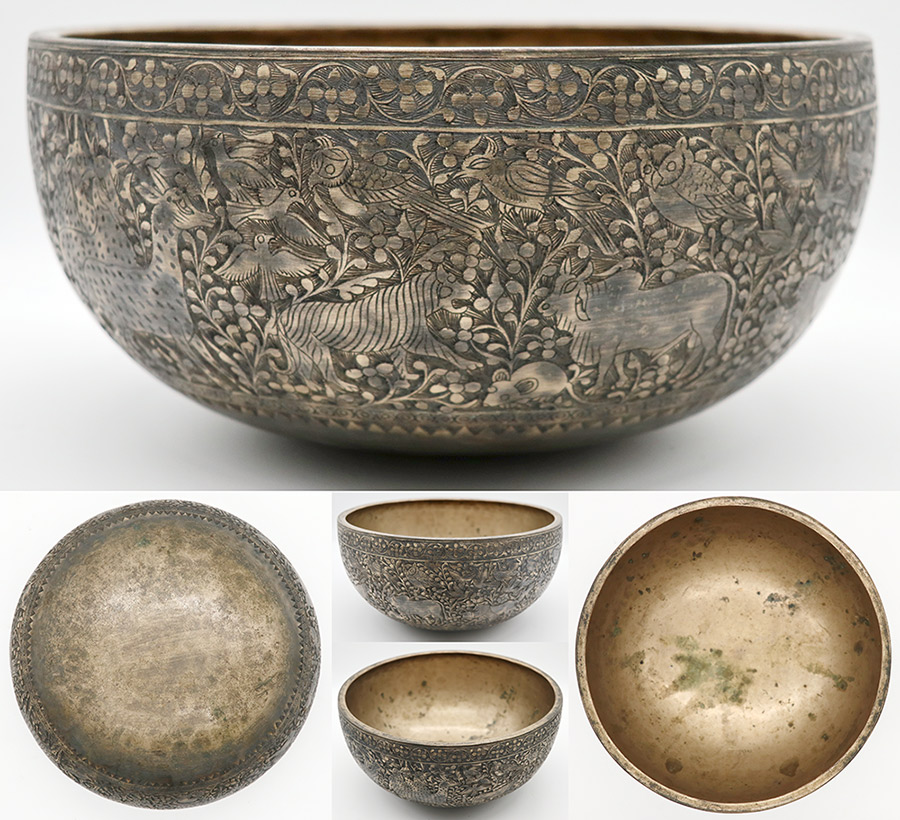 "Incredible 9 ¾ "" Engraved Antique Jambati Bowl from Bangladesh – Perfect Pitch F3"