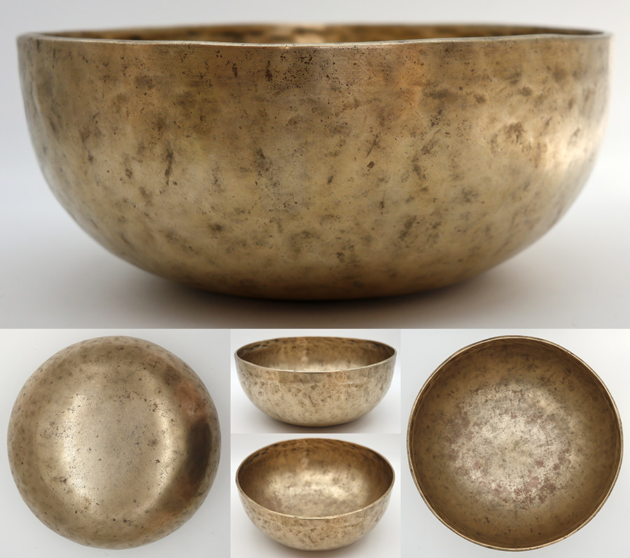 "Antique 9 ½"" Jambati Singing Bowl – A2/G#2 Fundamental with D4, Eb4, C#5 Harmonics"