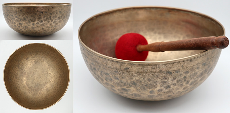 "Versatile & Vibrant Large 10 ¾ "" Antique Jambati Singing Bowl - Amazing OM & Fountains"