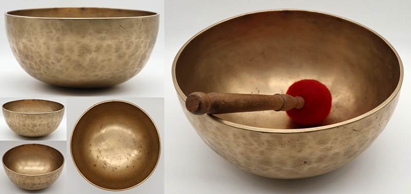 "Exceptional Golden 9 ½ "" Antique Jambati Singing Bowl – 2 Perfect Pitch Notes!"