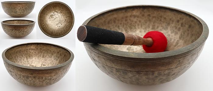 "Interesting Large 10 ½ "" Antique Jambati Singing Bowl – Wonderful F#3 Voice"
