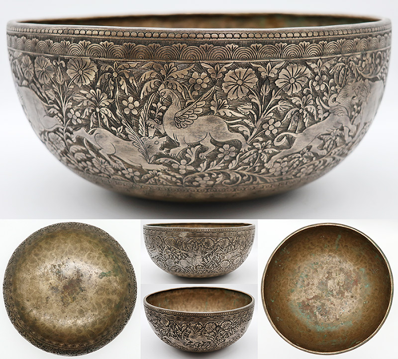 "Glorious 11"" Engraved Antique Ceremonial Jambati Bowl from Bangladesh – G2 & CP Eb5"