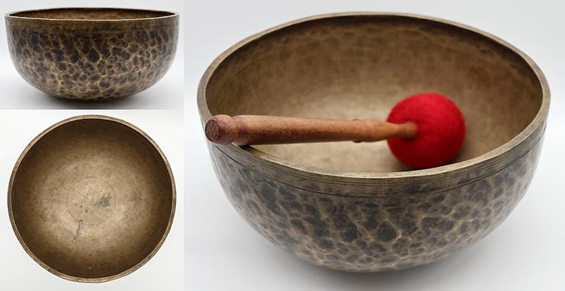 """Large Dark Bronze 10 ¾ """" Antique Jambati Singing Bowl – Perfect Pitch G#2 (104Hz)"""