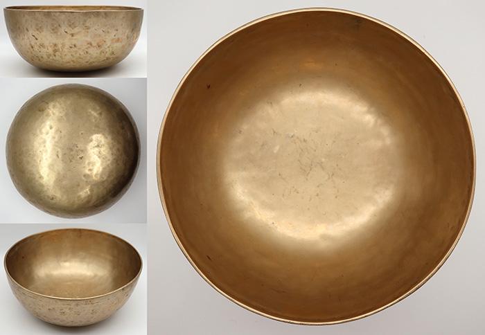 """Vibrant 11"""" Golden Antique Jambati Singing Bowl – Pulsating Low Eb2 & Rare A3"""