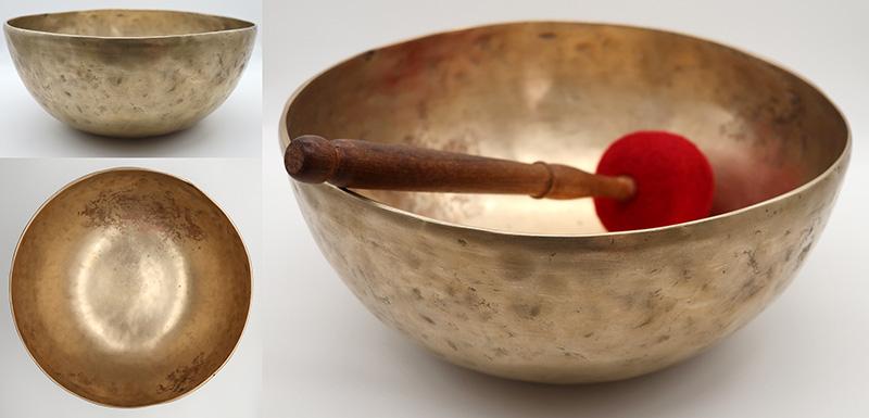 "Vibrant Fine-Walled 11 ½ "" Antique Jambati Singing Bowl – Perfect Pitch Eb2 & OM"