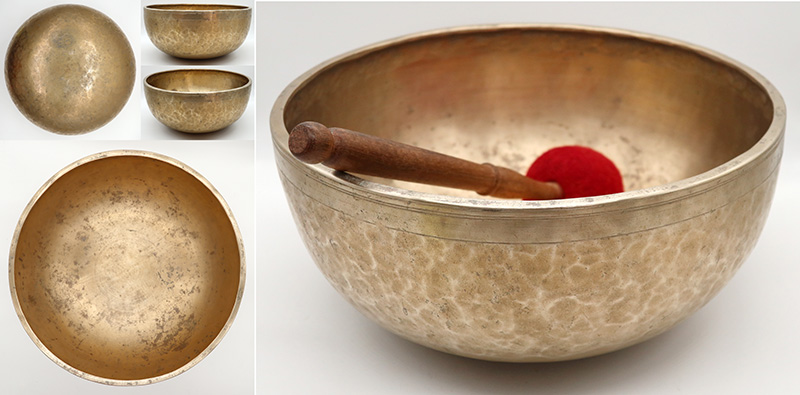 "Glorious Large 12 ¼"" Antique Jambati Singing Bowl – Rare A2 Note & OM"