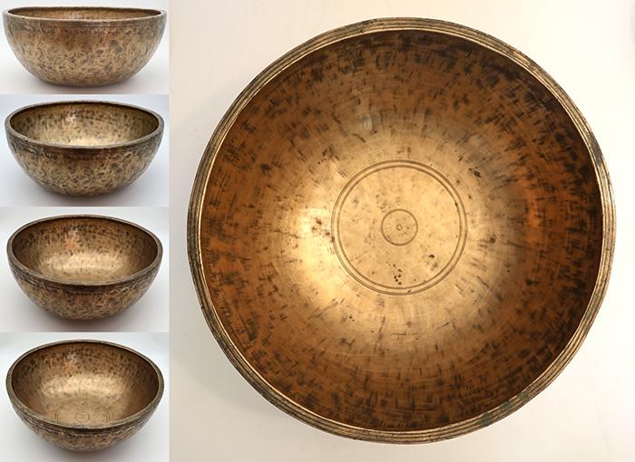 """Magnificent Large 12 ¼ """" Antique Jambati Singing Bowl – C#3 (142Hz)"""