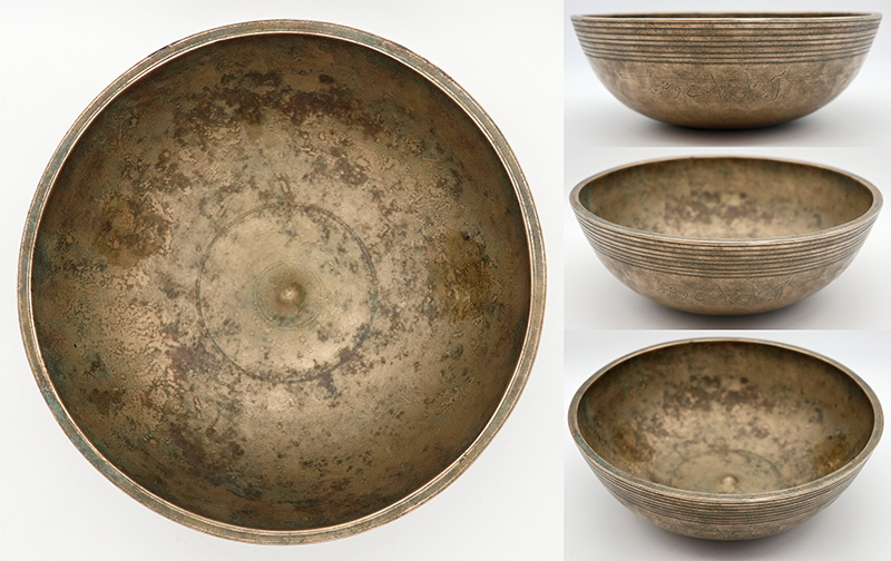 Extremely Rare Large Museum Quality Late 18th Century Lingam Singing Bowl – Inscribed