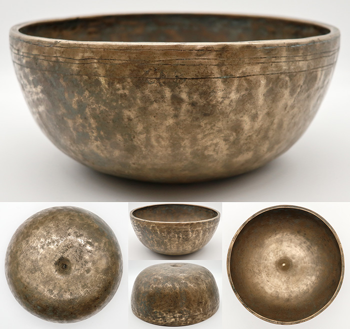 """Very Rare Large 9"""" Antique Lingam Singing Bowl – 2 Perfect Pitch Voices!"""