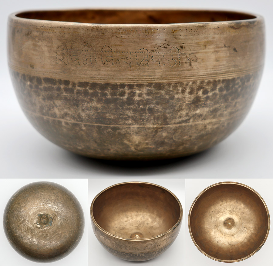 Fabulous Antique Lingam Singing Bowl – Perfect Pitch B3 - Inscribed