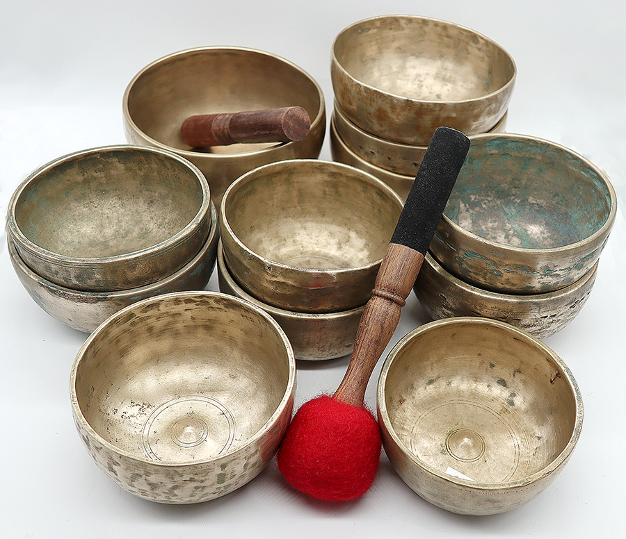 Complete 12-Piece Chromatic/Chakra Set of 4th Octave Antique Lingam Singing Bowls