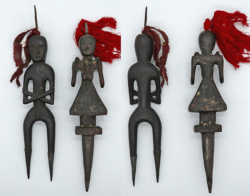 Rare Antique Tibetan Male & Female Shaman Phurba - Spirit Catchers